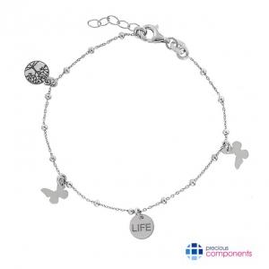 Sterling Silver Diamond Butterfly Heart Chain Necklace Slide MSRP $61